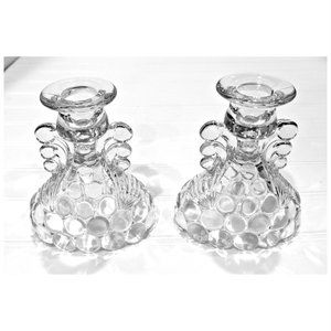 Vintage Depression Glass Candle Posy Holders